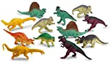 Kicko Dinosaur Figures - 12 Realistic Looking Dinosaurs, 5.5 - 6.5 Inch in Assorted Colors for Boys and Girls - Fun Toy, Gift, Prize - Classroom Entertainment and Educational Party Decoration