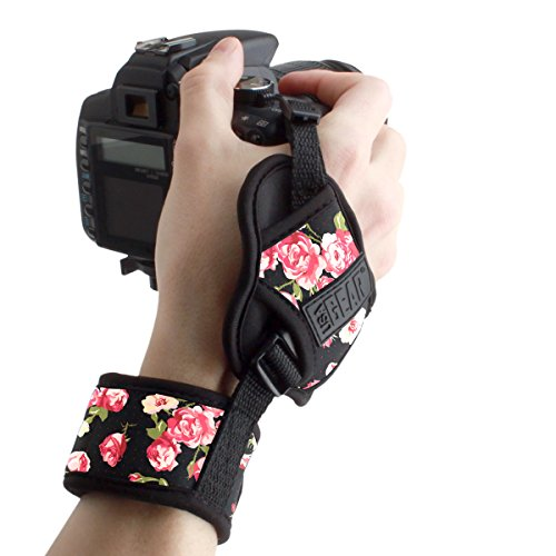 USA GEAR Camera Hand Strap Wrist with Floral Padded Neoprene Pattern and Connecting Metal Plate - Compatible with Canon, Fujifilm, Nikon, Sony and More DSLR, Instant, Mirrorless Cameras