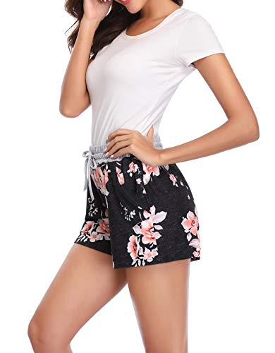 Lucky Star Women Floral Printed Activewear Lounge Shorts with Pocket (Grey Waist/Black, Medium)