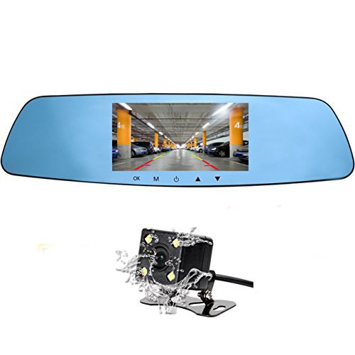 Cinlitek HD Mirror Car Dash Cam Front and Rear Dual Dash Cam Rear View Mirror Camera,5 Inch IPS Screen Back up Car Camera 1080P Super Night Vision with Waterproof Reversing Cam, Dash Camera for Cars
