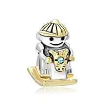 Mom Boy Riding Rocking Horse Charm Silver/Gold Plated Beads Fit Pandora Bracelets
