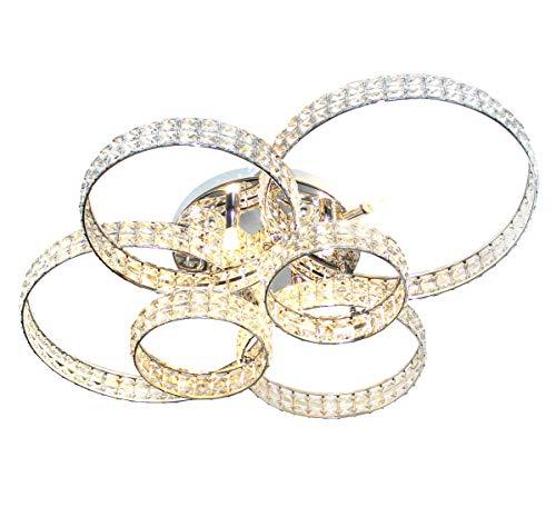 XXL LED plafondlamp glas kristal plafondlamp woonkamer licht ringen design 88x66cm 6xG9 Lewima HALKALA