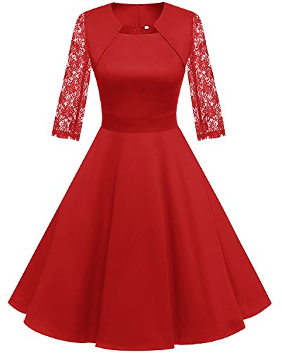 Homrain Women's 1950s Retro Vintage A-Line Long Sleeves Cocktail Swing Party Dress Red-B M -