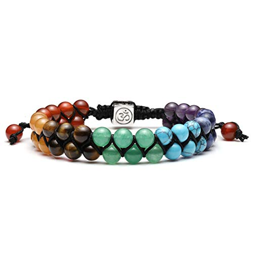 (Jovivi Men Women 6mm Double Layer Natural Energy 7 Chakra Healing Stone Yoga Beads Bracelets Adjustable Braided Rope with Om Charm for Couples)
