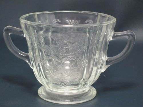 Vintage Federal Glass Clear Madrid Open Sugar Bowl With Handles