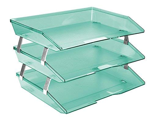 Acrimet Facility 3 Tier Letter Tray Plastic Desktop File Organizer (Clear Green Color)