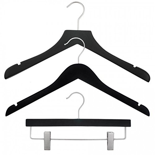 NAHANCO 20817HUSK Wood Clothes Hanger Kit - Black Rubberized (Pack of 79) by NAHANCO