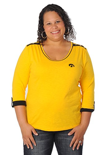 - UG Apparel NCAA Iowa Hawkeyes Women's Plus Size Roll-Up Top, 3X, Black/Gold/White