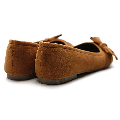 Brown Women's Comfortable Flat Multi Color Ballet Shoe Ribbon Cute Ollio UwT41qTR