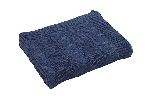Aztocratic Xochitl 100% Cotton Knitted Navy Blue Throw, Premium Knit Crochet Sweater Texture, Stylish Look Throw For Sofa/Bed or Couch, Throws with Soft and Cozy Feel, Ideal for All Year Round Use (Blanket Knit Navy)