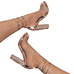 The LALA  IKAI club party sandals will have you looking like a million bucks, diamond-studded high chunky heel. With adjustable strappy ankle ties, PVC clear toe strap, and an open toe Ankle StrappyConstruction peep toe Synthetic lining Non-r...