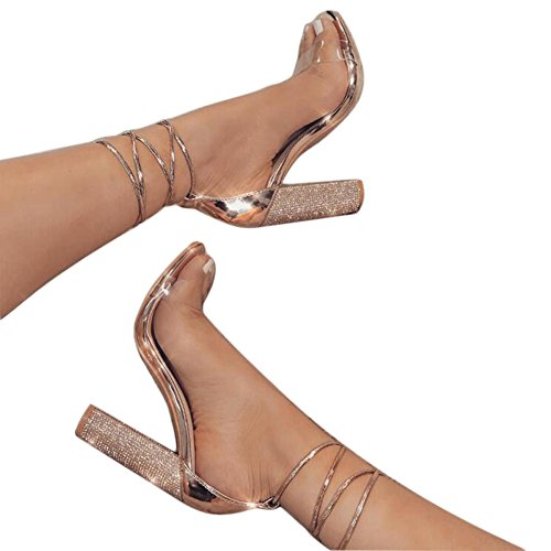 - Women's Gold High Heels Sandals with Rhinestone Ankle Strappy Chunky Heels Dress Party Pumps Shoes