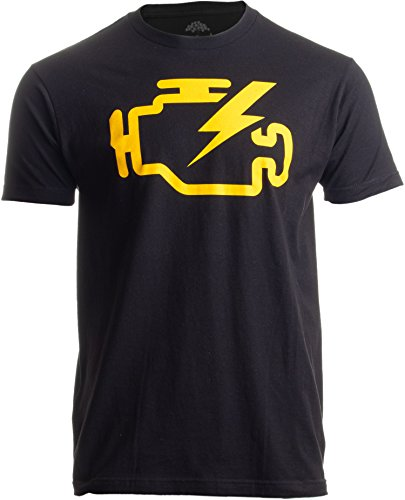 Check Engine Light | Funny Mechanic Macanic Machanic Car Clothing Men T-Shirt-(Adult,L) Black