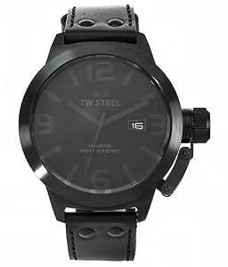 TW Steel TW-822 - Reloj analógico de caballero de cuarzo con correa de piel negra - sumergible a 100 metros