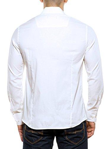 Reslad - Camisa casual - Básico - para hombre blanco