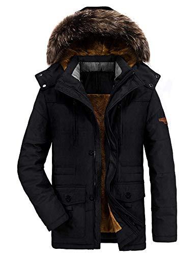 Homme Parka Hiver Blousons Chaud Manteau Fourrure Capuche Veste Militaire Blouson Multi-Poche Men Winter Casual Jacket 1