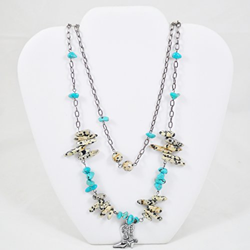 Americana Style Pendant (Multistrand Western Style Necklace In Turquoise With Cowboy Boot)