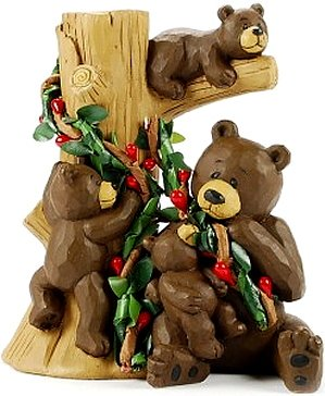 Silly Brown Bear Mom Mama & Three Cubs on Tree with RED Berries Resin Figurine