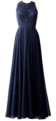 Damen Partykleider Abendkleider Blau Chiffon Navy Lang Hochzeit Festkleider Elegant Brautjungfernkleider Spitze Beyonddress 7dqO7