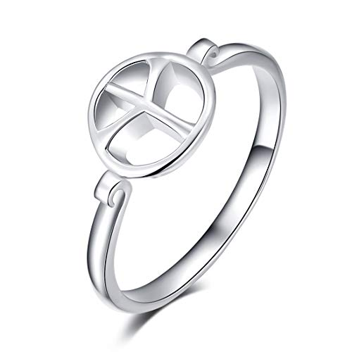 LAIMALA Peace Sign Ring Sterling Silver Women Girls Dainty Sizes 6-8 (8)