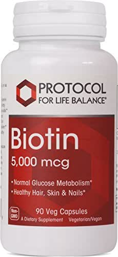Protocol For Life Balance - Biotin 5,000 mcg - Supports Amino Acid Metabolism and Supports Healthy Immune System, Supports Healthier Hair, Skin, & Nails, Energy Boost, - 90 Vcaps