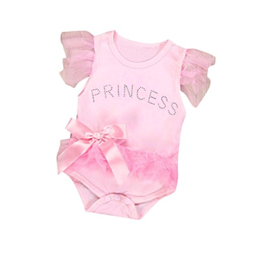 Napoo Clearance Baby Girl Cute Princess Letter Print Lace Bowknot Sleeveless Romper Jumpsuit Bodysuit (0-6M, Pink)