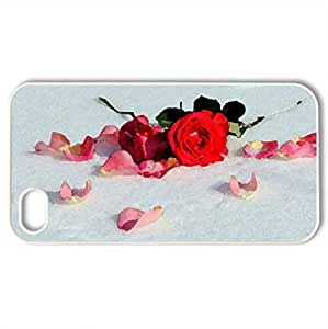 Winter Romance - Case Cover for iPhone 4 and 4s (Winter Series, Watercolor style, White)
