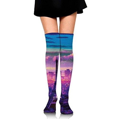 混沌石膏比類のないエッフェル塔 ストッキング サイハイソックス 3D デザイン 女性男性 秋と冬 フリーサイズ 美脚 かわいいデザイン 靴下 足元パイル ハイソックス メンズ レディース ブラック
