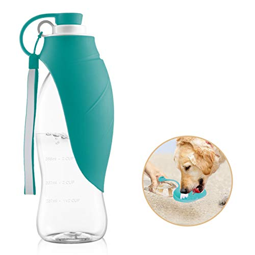 perpets Portable Pet Water Bottles, Reversible & Lightweight Dogs Water Bottle for Walking, Travel Pet Water Dispenser with Expandable Silicone Flip-Up Leaf, Made of Food-Grade Silicone 20 OZ (Blue) by perpets