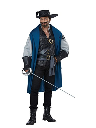 California Costumes Men's Deluxe Musketeer-Adult Costume, Black/Teal, Large/Extra Large ()