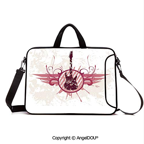Decora Frame - AngelDOU Customized Neoprene Printed Laptop Bag Notebook Handbag Grunge Instrument in Circular Frame with Floral Elements Vintage Artistic Decora Compatible with mac air mi pro/Lenovo/asus/acer C