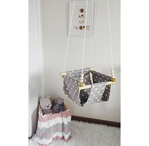 Indoor/Outdoor Polka Dot Baby and Toddler Swing, Nursery Decor by Sweet Swinging
