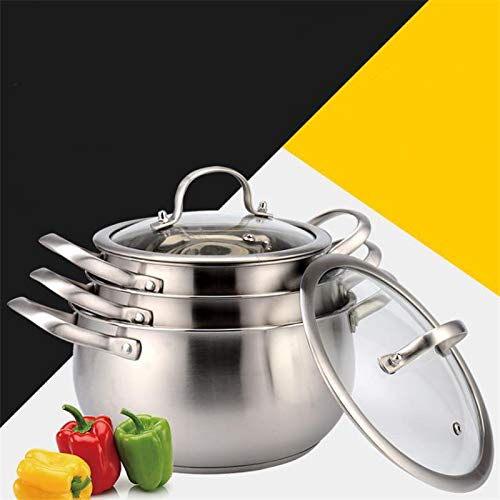 Best Quality - Soup & Stock Pots - Thickened bottom stainless steel soup pot with double handle and glass cover induction and gas cooker non-stick highend pot - by HURA - 1 PCs