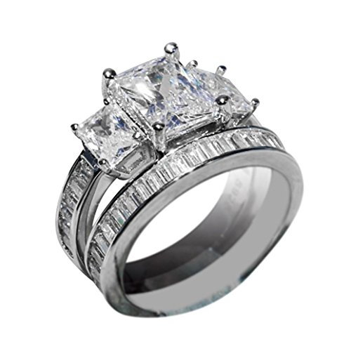 Rings Fashion 3-in-1 Faux Crystal Ring Set AfterSo Womens Girls Romance Gift (6, Silver - 3)