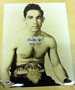 Autographed Willie Pep Photo - 11x14 PSA COA - Autographed Boxing Photos