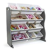 Humble Crew Store Inspire Contour Toy Organizer with 12 Storage Bins, Grey/White