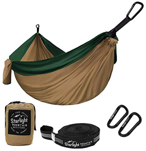 Starlight Mountain Outfitters Single Camping Hammock - Portable Lightweight Parachute Nylon with Tree Straps, Best Hammock for Backpacking, Hiking, Camping, Outdoors Travel ()
