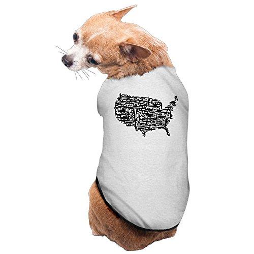 American Guns Format Pattern Cute Dog Coats L Gray