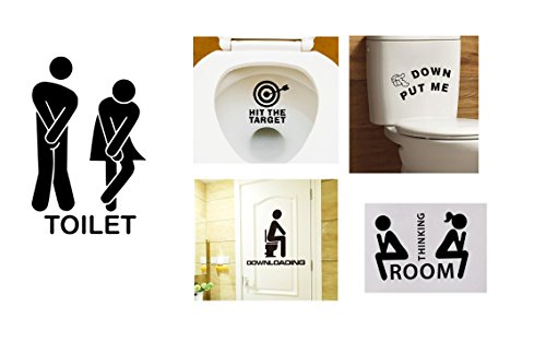 5 Pieces 2017 beautiful removable Man Woman bathroom WC WC WC Sticker DIY Family Decor Bathroom Decor (Left To Right Halloween Story)
