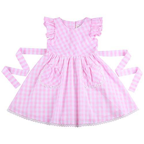 Flofallzique Gingham Casual Girls Dress with Pocket 3 Colors Kids Sundress for 1-12 Y (8, Pink) ()