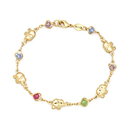 JEWELRY PARADISE Elephant & Multi-Color Birthstone Charms Bracelet for Women Average Adult 14kt Gold Filled Plated Birthday Crystal Good Luck Kabbalah Feng Shui Yoga Pulsera Elefante Suerte (7.5)