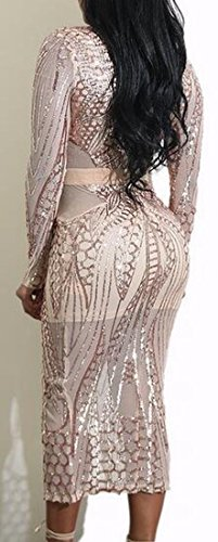 Neck Midi Apricot Womens Dress Deep Bodycon Long Jaycargogo Sleeve Split V tTwHqUgB