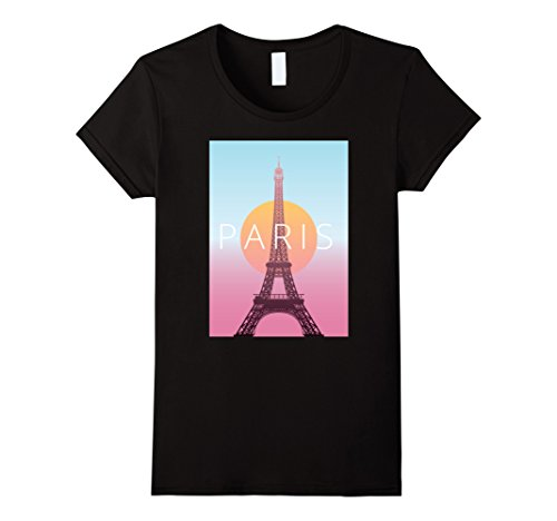 Womens Paris France Travel Poster T-Shirt Medium Black