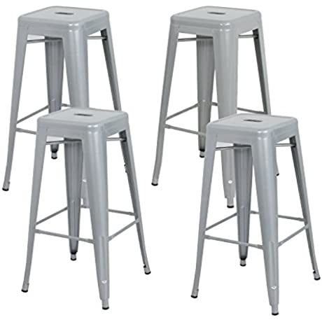 ZENY 4PCS 30 High Backless Silver Metal Indoor Outdoor Barstool With Square Seat