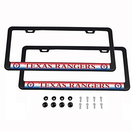 2PCS MLB Lightweight License Plate Frames Black Matte Powder Coated Aluminum - Texas - Rangers Red Sox
