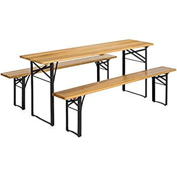 Amazon best choice products 3 piece portable folding picnic best choice products 3 piece portable folding picnic table set wwooden tabletop watchthetrailerfo