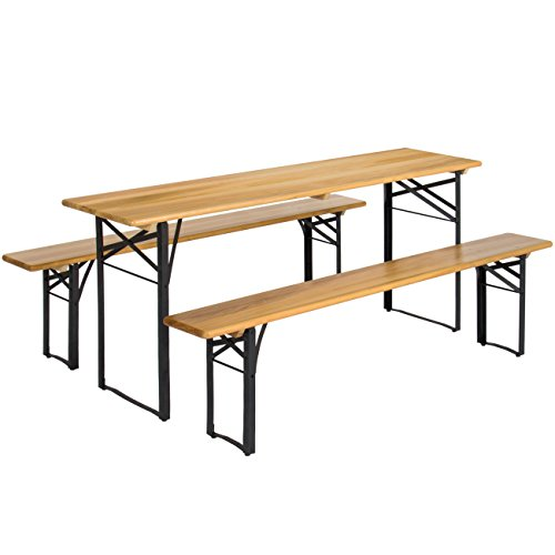 (Best Choice Products VD-2837OP Products 3-Piece Portable Folding Picnic Table Set w/Wooden Tabletop, Brown/Black)