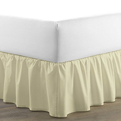 300 Thread Count Adjustable Wrap Around Bed Skirt Luxurious 100% Pima Cotton 12 Inch Drop Solid By Serene Linens (Ivory, California King) (Available in All Sizes and 29 Colors)
