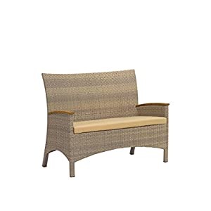 Oxford Garden Torbay Loveseat - Powder Coated Aluminum Frame - Antique Resin Wicker -Teak Armcaps-Sand Cushion