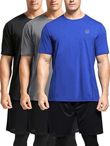 Neleus Men's Workout Shirts Short Sleeve Athletic Running T-Shirt,3 Pack,Black/Grey/Blue,2XL,EU 3XL